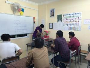 一次試験の面接会場は日本語学校で実践中